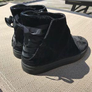 Zara womens Black High Top Velvet Sneakers 7
